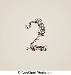 Decorated two digit on beige