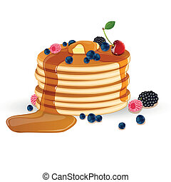 Vector illustration of pancakes with maplesyrup, butter and wild berries
