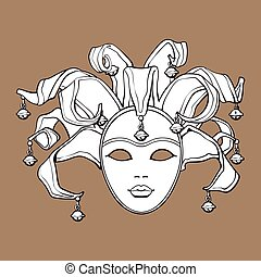 Decorated Venetian carnival, jester mask with bells and glitter