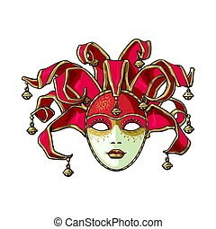 Decorated Venetian carnival, jester mask with bells and golden glitter