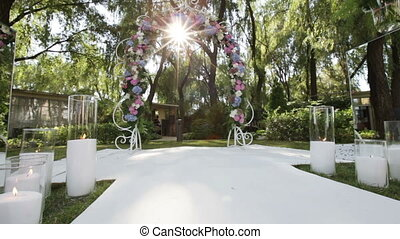 Decorated wedding arch sun