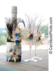 decorated wedding champagne