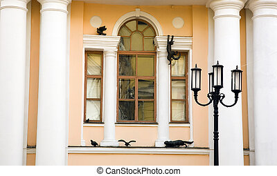 Decorated window of one theater in Nizhny Novgorod