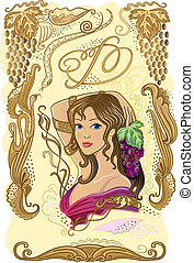 Decorated wine label with grapes and girl isolated on white...