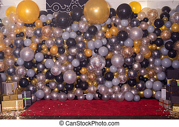 Decorated with colorful balloons decoration for photography. Photozone.