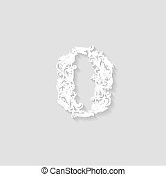 Decorated zero digit on beige - Richly decorated zero digit...