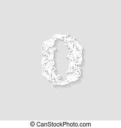 Richly decorated zero digit on gray background