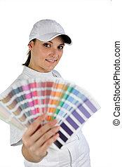 decorateur, met, een, kleur swatch