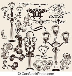 decorati, vektor, satz, calligraphic