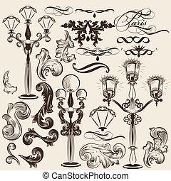 decorati, vetorial, jogo, calligraphic