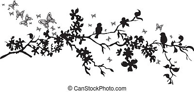 decorati, vettore, -, uccelli