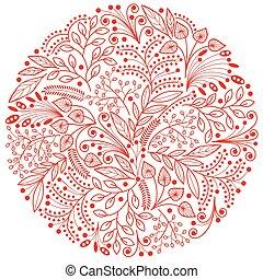 decoratief, achtergrond, floral, witte , samenstelling, rood