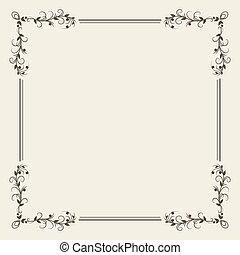 decoratief, achtergrond, kalligrafie, witte , frame, decoratief, black