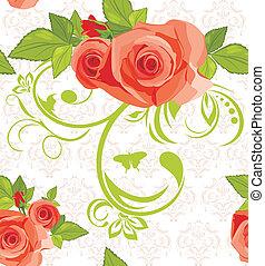 decoratief, achtergrond, rozen