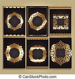 decoratief, achtergronden, black , goud
