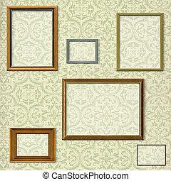 decoratief, afbeelding, af)knippen, selectie, wegen, ouderwetse , frame, tegen, achtergrond