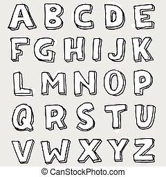 decoratief, alfabet, bevlekte, een-z
