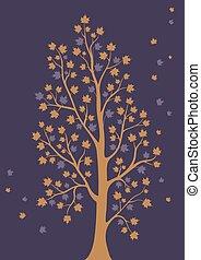 decoratief, bladeren, boompje