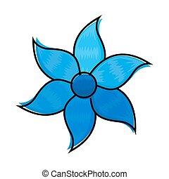 decoratief, blauwe bloem