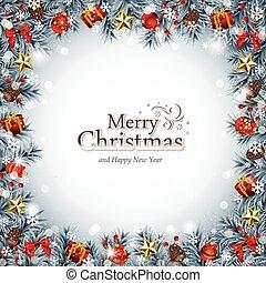 decoratief, blauwe , frame, kerstmis