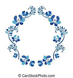 decoratief, blauwe , ornament., oud, traditionele , krans, gzel, floral, witte