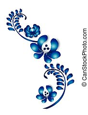decoratief, blauwe , oud, traditionele , ornament., illustratie, gzel, floral