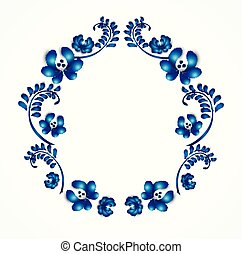 decoratief, blauwe , oud, traditionele , ornament., wreath., gzel, floral
