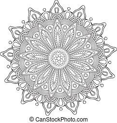 decoratief, bloem, ornament, ronde
