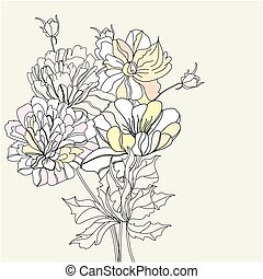 decoratief, bloemen, achtergrond