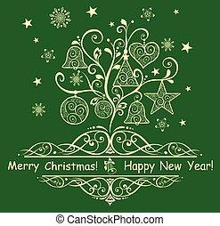 decoratief, boompje, kerstmis kaart