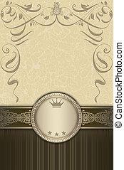 decoratief, border., ouderwetse , frame, elegant, achtergrond