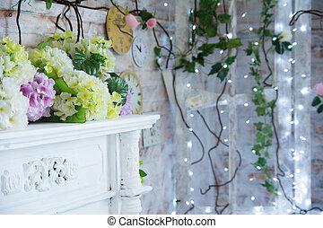 decoratief, burning, kunstmatig, achtergrond, garlands, tafel, bloemen