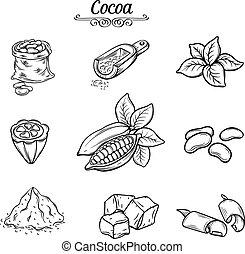 decoratief, cacao, set, chocolade