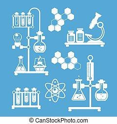 decoratief, chemie, set, iconen