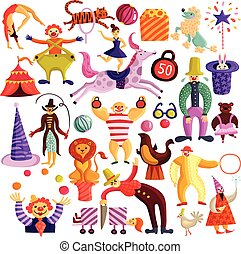 decoratief, circus, set, iconen