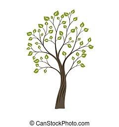 decoratief, concept, natuur, eenvoudig, boom., groene, logo