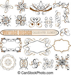 decoratief, decor, elements:, vector, ontwerp, pagina