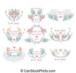 decoratief, decoratief, set, kleurrijke, negen, flowers., frames., floral, randjes, communie