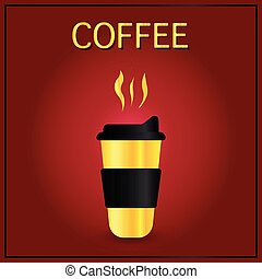decoratief, drink., illustration., kop, poster, het stimuleren, vrijstaand, menu, element, achtergrond., warme, flyer, koffie, gaan, reclame, spotprent, rood, design.