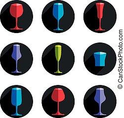 decoratief, drinkende glazen, collecteren
