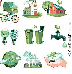 decoratief, ecologie, set, iconen