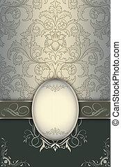 decoratief, elegant, floral, frame., achtergrond