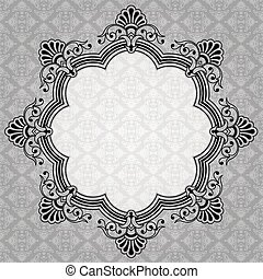 decoratief, elegant, grijs, ronde, etiket