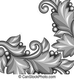 decoratief, elements., achtergrond, floral, barok, zilver