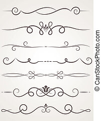 decoratief, elements., calligraphic