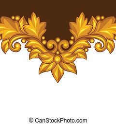 decoratief, elements., goud, achtergrond, floral, barok