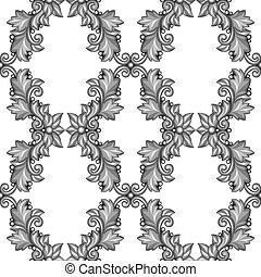 decoratief, elements., model, seamless, floral, barok, zilver