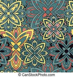 decoratief, elements., ouderwetse , pattern., seamless, mandala.