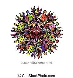 decoratief, elements.vector, mandala., illustratie, ethnische