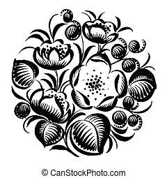 decoratief, floral, cirkel, silhouette